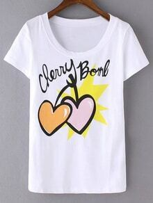 White Short Sleeve Hearts Letters Print T-shirt