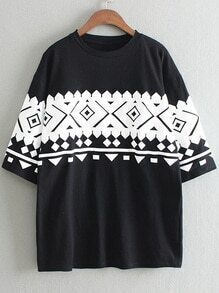 Black Half Sleeve Geometric Print T-shirt