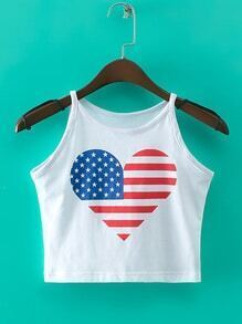 White Heart Flag Print Straps Tank Top