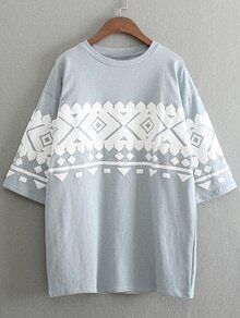 Light Blue Half Sleeve Geometric Printed T-shirt