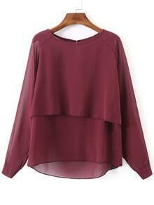 Burgundy Long Sleeve Double Layers Chiffon Blouse