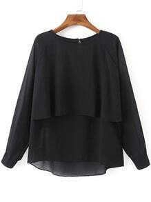 Black Long Sleeve Double Layers Chiffon Blouse
