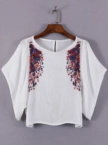 White Bell Sleeve Keyhole Back Sequined Blouse