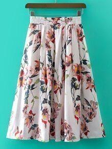 Multicolor Elastic Waist Floral Print Skirt