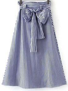 Blue White Stripe Zipper Side Tie-Waist Bow Long Skirt