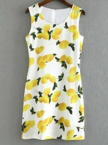 Multicolor Sleeveless Zipper Back Mangoes Print Dress