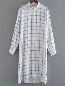 Multicolor Long Sleeve Buttons Front Plaids Shirt Dress