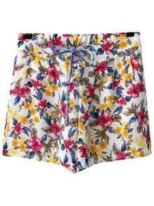 Multicolor Elastic Tie-Waist Bow Print Shorts