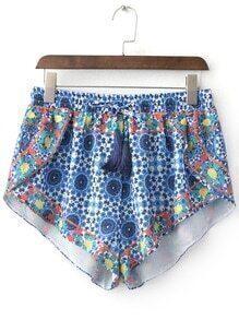 Multicolor Elastic Tie-Waist Tassel Print Shorts