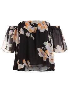 Off-The-Shoulder Flower Print Crop Top