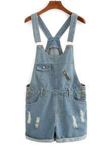 Frayed Rolled Hem Overall Denim Shorts