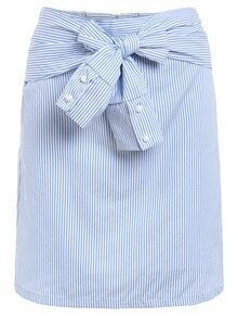Sleeve-Tie Vertical Striped Skirt