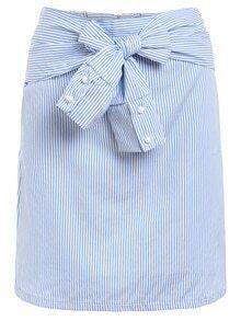 Sleeve-Tie Vertical Striped Skirt
