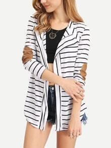 White Drape Front Striped Patch Coat