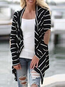 Black Long Sleeve Striped Coat