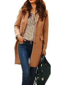 Coffee Lapel Single Breasted Woolen Coat
