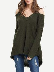 Dark Green Cold Shoulder High Low Sweater