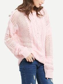 Pink Round Neck Hollow Sweater