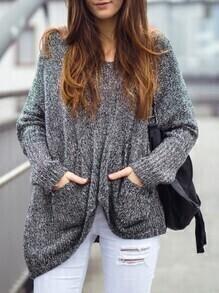 Grey Pockets Asymmetric Sweater