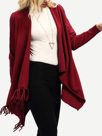 Burgundy Cowl Neck Wrap Front Fringe Sweater