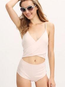 Pink Spaghetti Strap Wrap Front Bodysuit