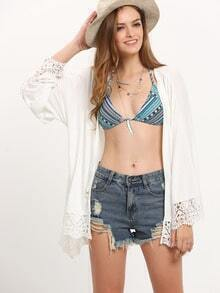Beige Embroidered Lace Patchwork Kimono