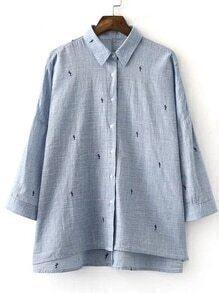 Blue Long Sleeve Keyhole Back Embroidery Blouse