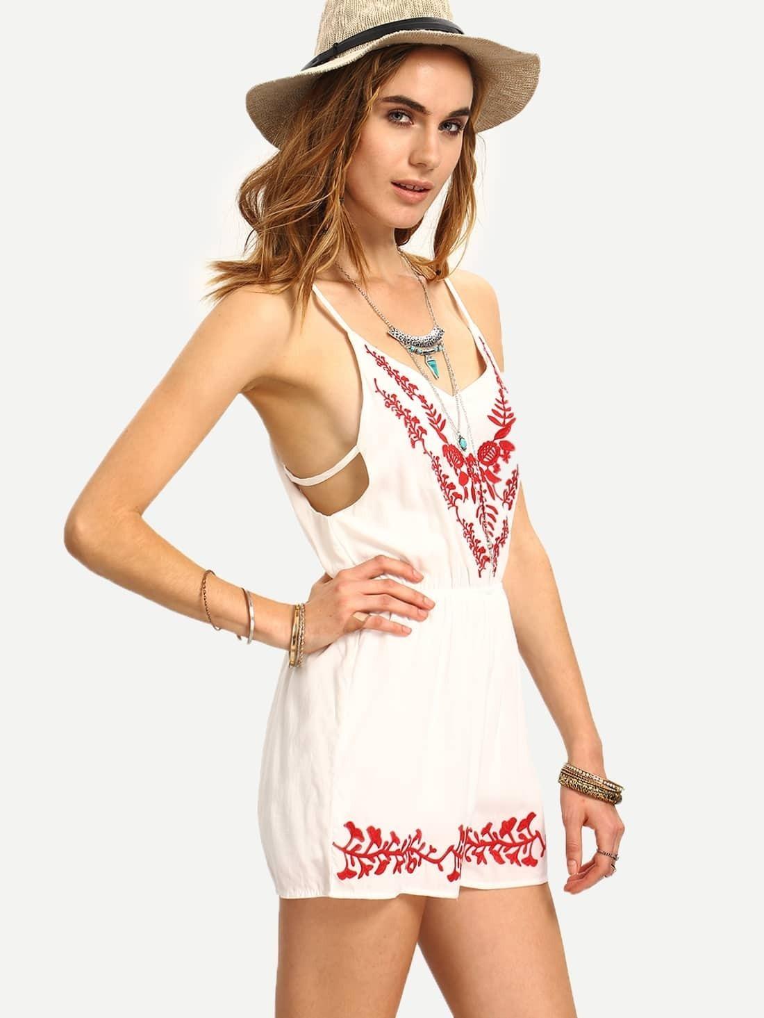 Embroidery Slit Back Cami Romper