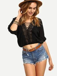 Lace-Up Lace Neck Crop Top