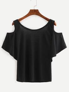 Open Shoulder Cutout Back Top - Black