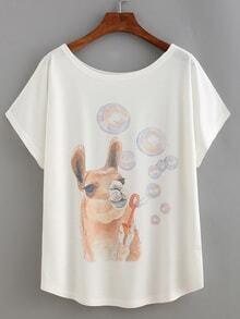 T-Shirt mit Druck - weiß