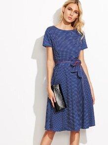 Self-Tie Polka Dot Print Dress