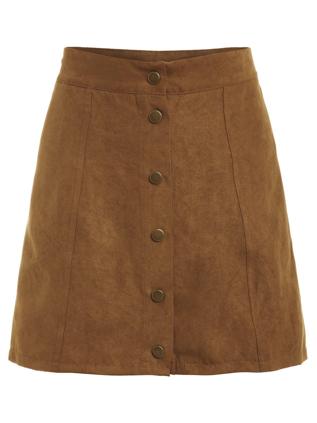 Faux Suede Buttoned Front Skirt - Khaki