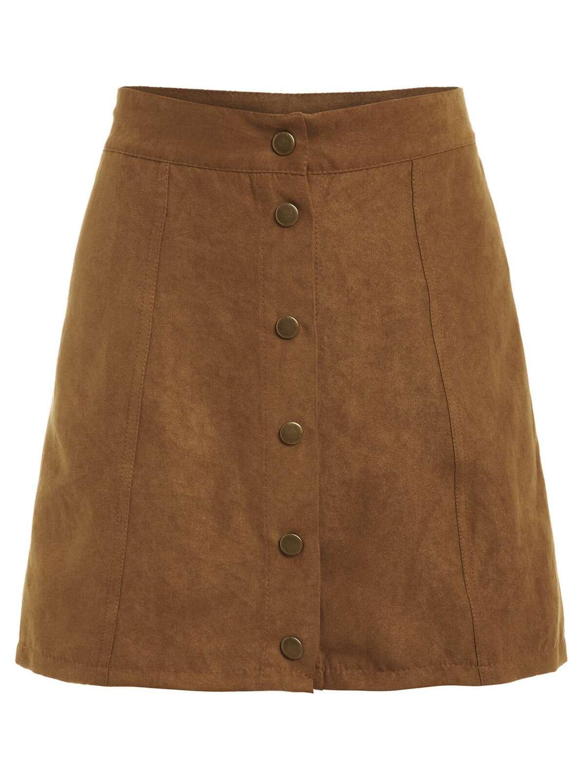 人造的 麂皮效果 紐扣 正面 裙子 黃褐色