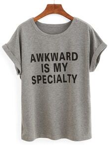 Grey Letters Print Cuffed T-shirt