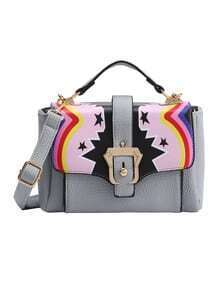 Tribal Print Buckled Strap Flap Bag - Grey