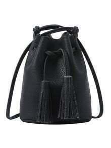 Tassel Drawstring Bucket Bag - Black