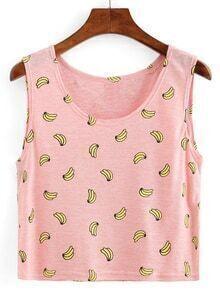 Banana Print Crop Tank Top - Pink