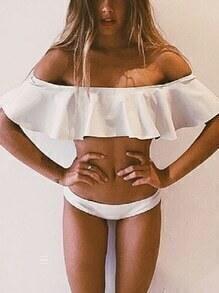 Ruffle Off-The-Shoulder Bikini Set - White
