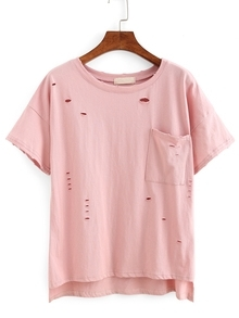 Ripped High-Low Pocket T-shirt