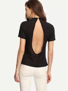 Open Back Mock Neck Top