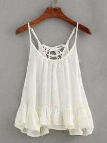 Lace-Up Ruffled Hem Cami Top - White