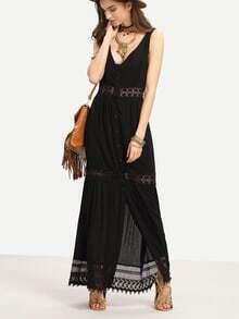 Tank Kleid ärmellos mit V-Rücken und Spitzensaum -schwarz