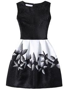 Robe évasée motif fleuri abstrait sans manche -noir