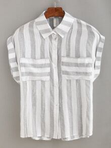 Revers Bluse mit Streifen und Taschen lässig