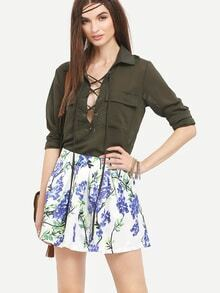 Lace-Up Neck Dual Flap Pocket Blouse