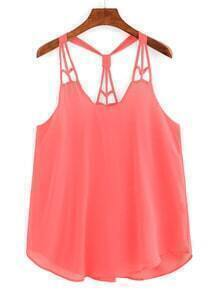 Knotted Racerback Cutout Cami Top - Fluorescent Pink