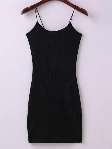Black Ribbed Spaghetti Straps Sheath Dress