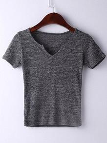 T-Shirt kurzarm mit V-Ausschnitt und Hohlem - grau