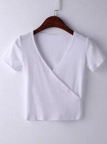 Camiseta con cuello en V manga corta -blanco